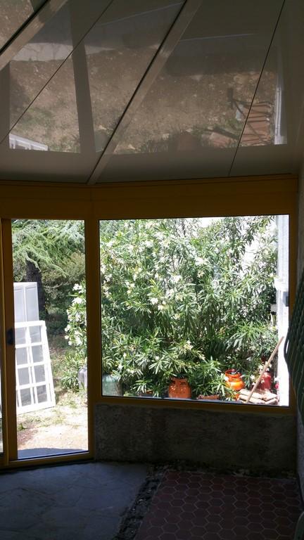 veranda alu bicolore sur mesure avec volets roulant menuisier n mes cema 30. Black Bedroom Furniture Sets. Home Design Ideas